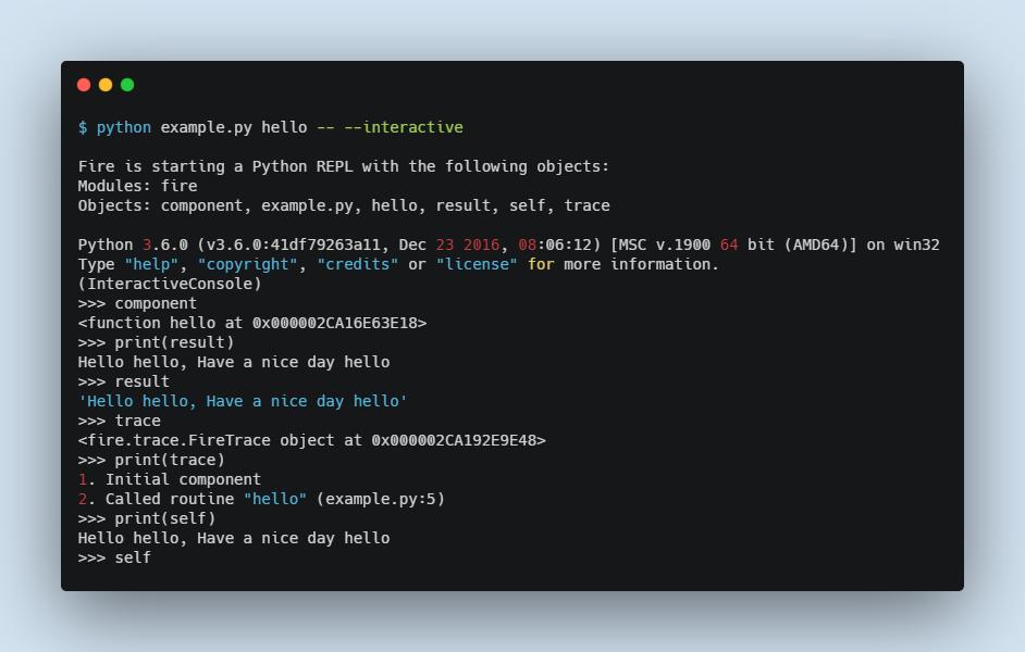 example terminal execution