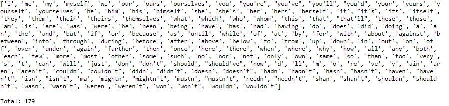 stop words list