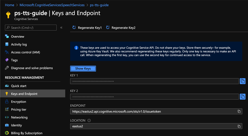 api keys and endpoint