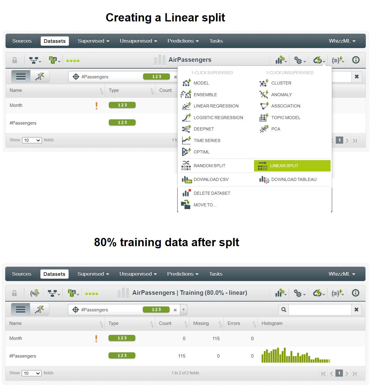 Splitting data linearly