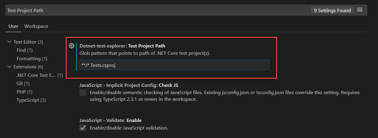 test project path