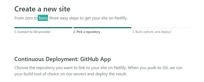 create new site on netlify