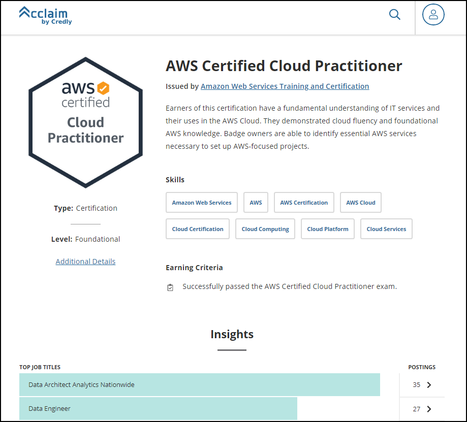 AWS shareable certification badge