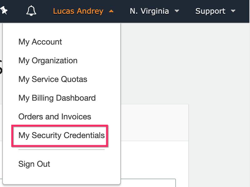 Click **My Security Credentials** menu item.