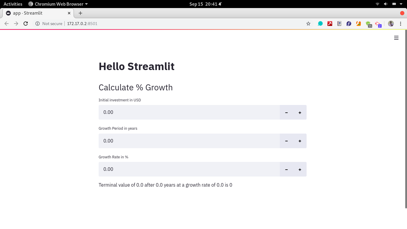 Stremlit page