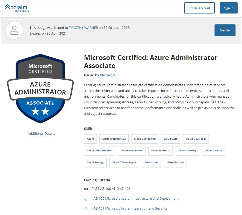 Microsoft Azure Administrator digital credential