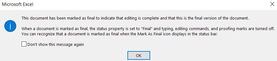 Mark as Final - Dialog box confirmation
