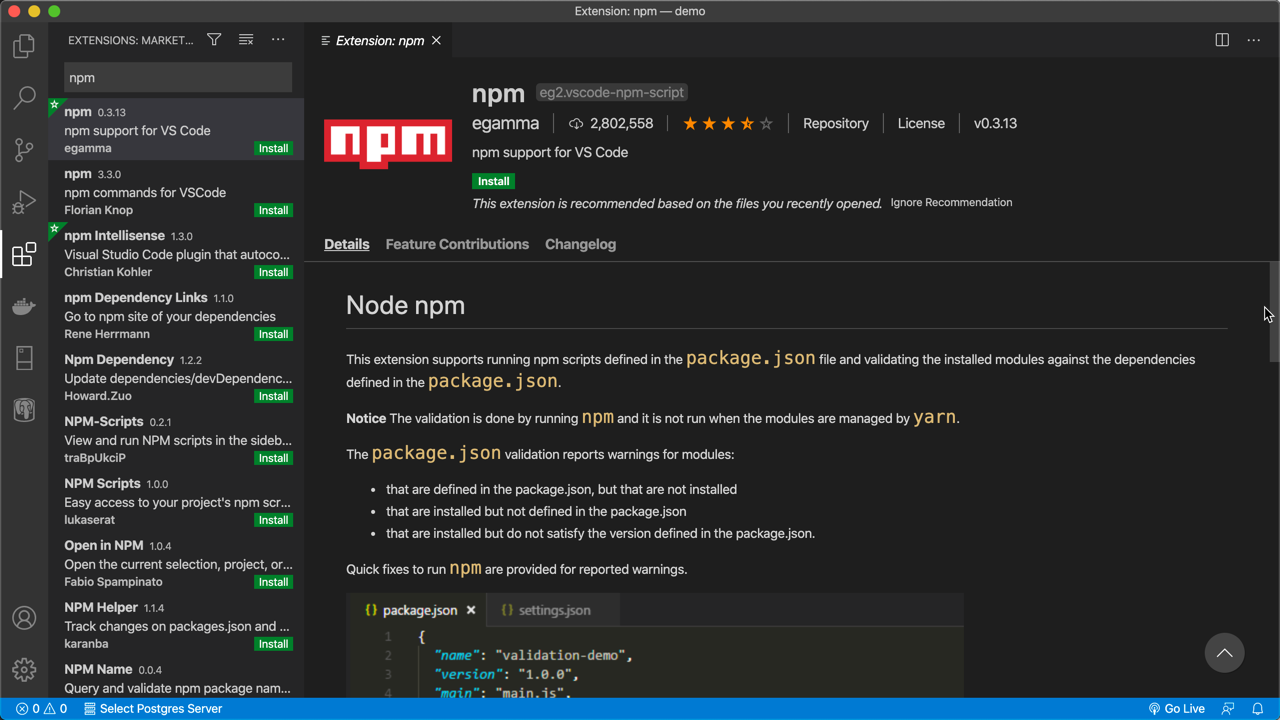 npm extension
