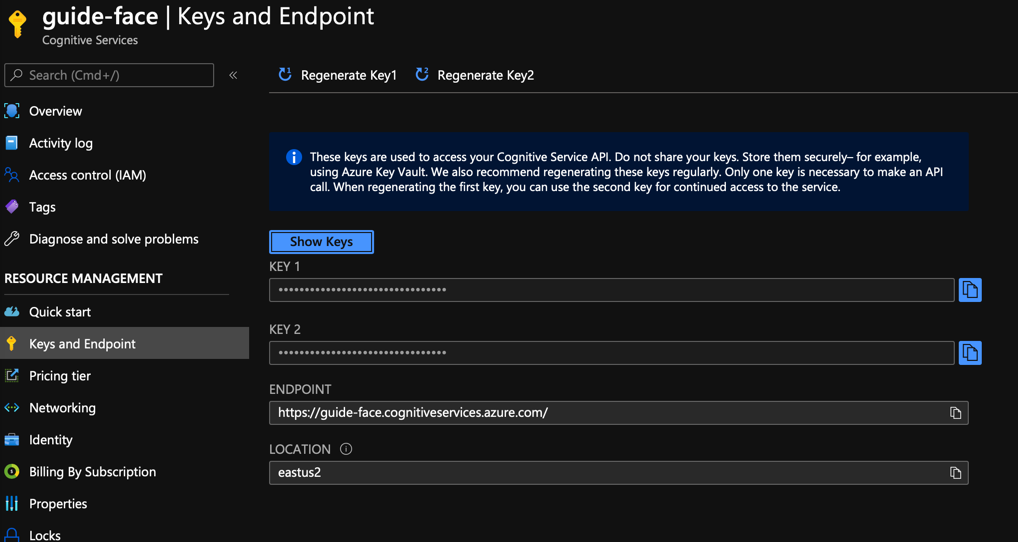 keys and endpoints