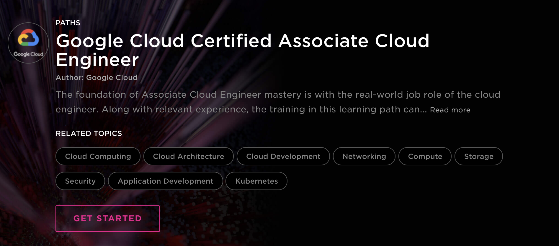 Google Cloud Certified Associate Cloud Engineer learning path