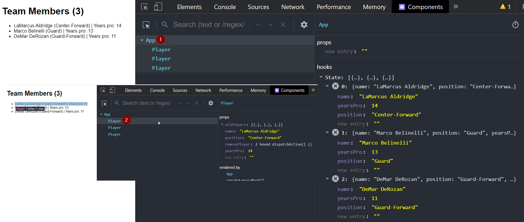 Using the React Developer Tools to inspect components