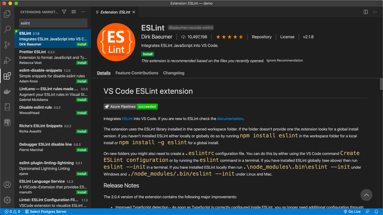 ESLint extension