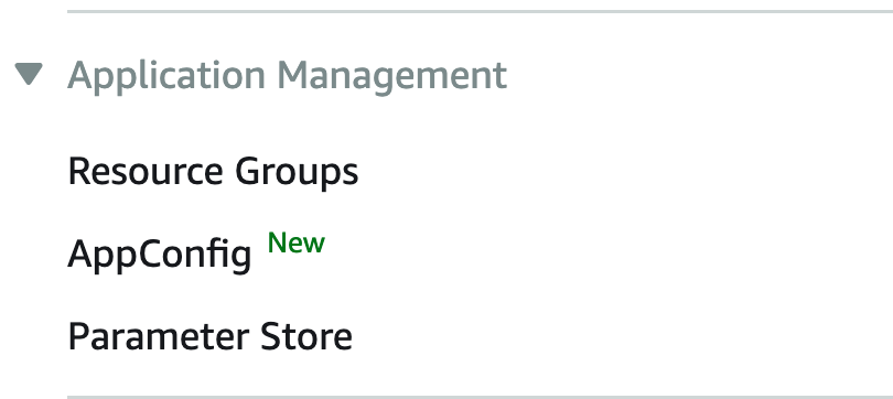 **Application Management -> Parameter Store** menu item.