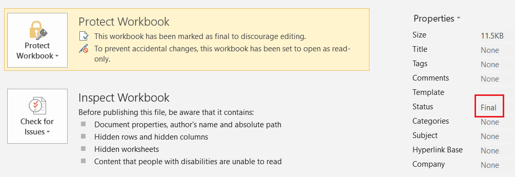 A file marked as Read-Only as well as Final
