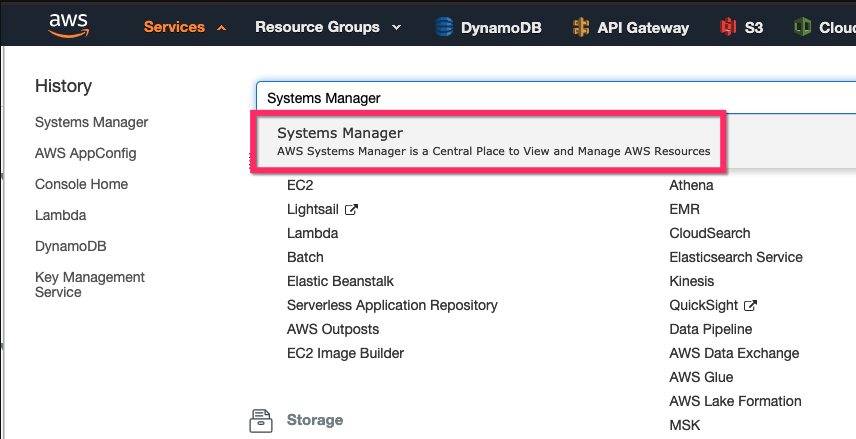 AWS Console System Manager