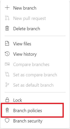 Branch context menu